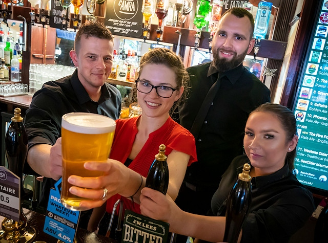 Staff at The Flying Horse Hotel in Rochdale are preparing for their busiest weekend of the year. (Left to right) Dan Radanovic, Devan Marland, Andy Jenkins and Sara Bashir