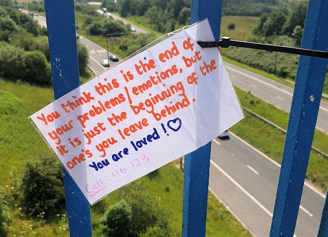 One of Chris' signs to deter those thinking of ending their life, urging them to think again