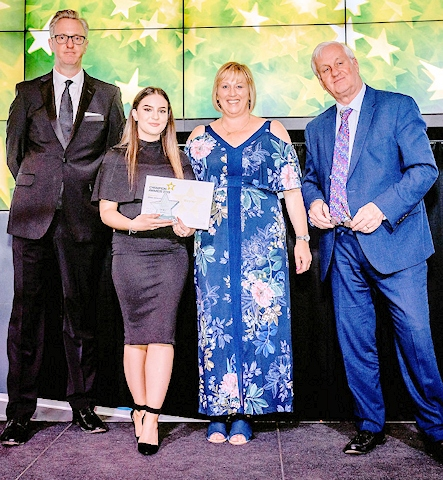 Tony Walsh; winner Chloe Johnson; Janet Wilkinson, director of workforce GMHSCP; Andrew Foster, Wrightington, Wigan and Leigh NHS Foundation Trust Chief Executive