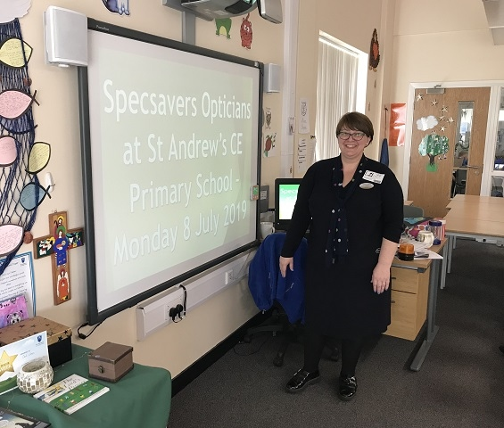 Specsavers in Rochdale talk on eye health careers at St Andrew's Primary School