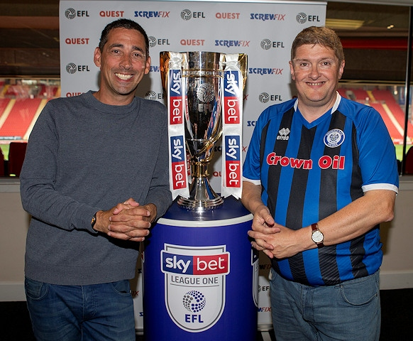 Rochdale AFC fan Mark Wilbraham (right) and Colin Murray, EFL on Quest host