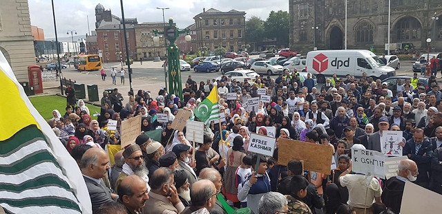 A demonstration calling for the freedom of Kashmir