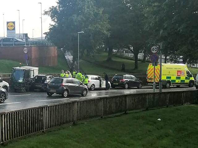 Car collides with council street sweeper, Spotland Road