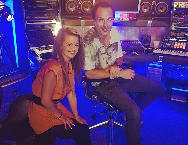 Mercedy in the studio with music producer Jorden Milnes
