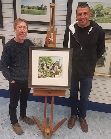 Geoff Butterworth (left) with the painting and Paul Ellison (right)