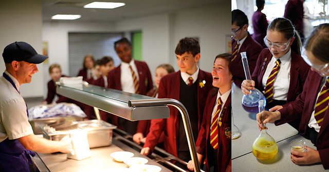 Siddal Moor students in canteen; in a science class