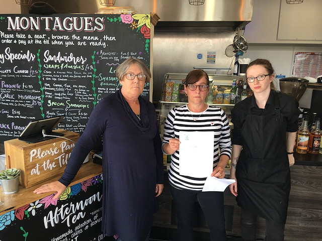 The team at Montague's Cafe, Rochdale. From left: Debra McGinty (owner), Andrea McDermott, Natalie Raye