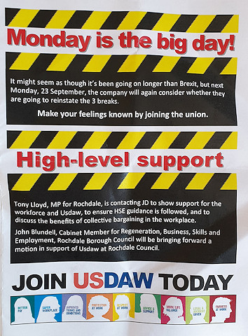 A leaflet handed out to JD Sport warehouse workers by Usdaw