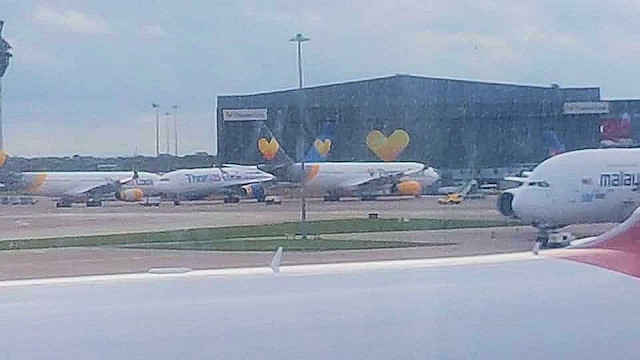 Thomas Cook aeroplanes at Manchester Airport