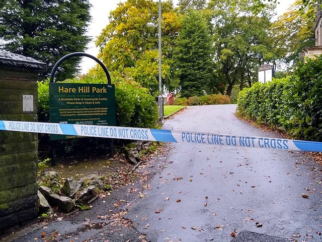 Police tape at Hare Hill Park the morning after the assault