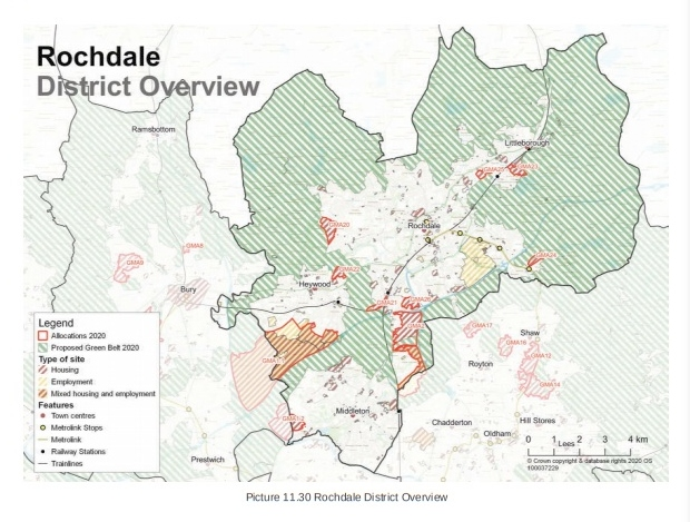 Rochdale district overview - map showing proposed development under 2020 version of the GMSF
