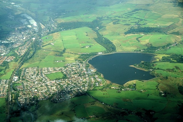 Aerial view of Hollingworth Lake and Smithy Bridge