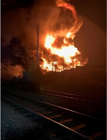 The fire in Bradford which has impacted local rail services
