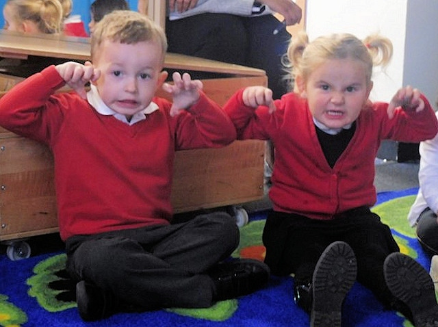 Castleton pupils put on scary faces and voices to tell their 'Reading in the Dark' stories