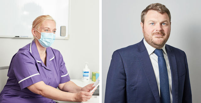 A Panthera nurse (left) and Stuart Young, CEO of Panthera (right)
