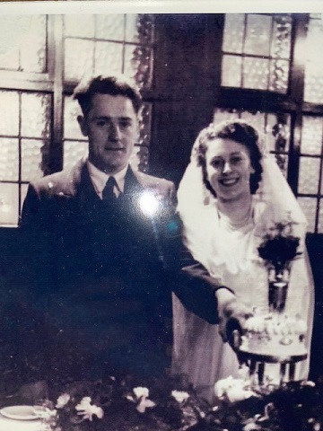 Ken and Joyce Taylor on their wedding day