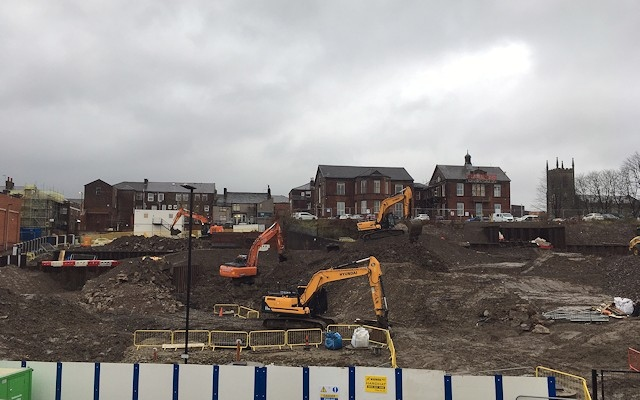 Works are underway at the site bordered by Penn Street, New Baillie Street and John Street in Rochdale town centre