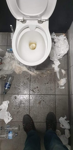 Toilet conditions inside JD Sports