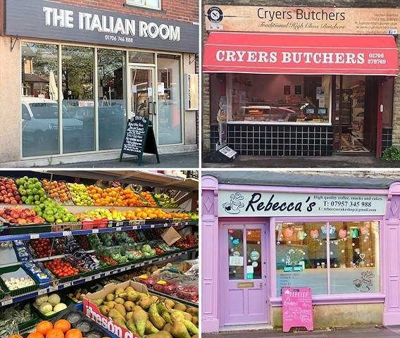 Clockwise from top left: The Italian Room, Bamford; Cryers Butchers, Littleborough; Rebecca's Coffee Shop, Littleborough and Green Peppers Red Tomatoes, Middleton