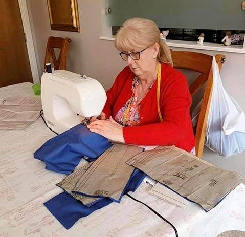 Carole sewing for Scrubs Hub Bury, Oldham and Rochdale