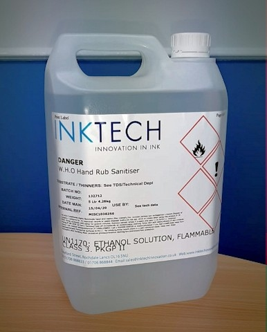 Inktech Innovation has produced hand sanitiser for key workers and businesses