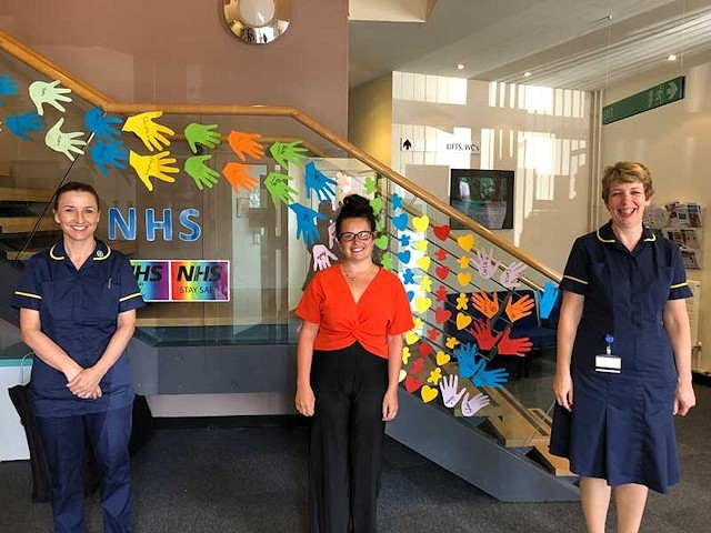 Georgina Hill, student nurse (centre) with Jacqui Burrow (left) and Tracy Shaw (right), at Fairfield General Hospital, Education Centre