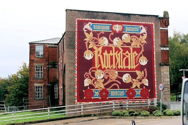 A mural was painted on the side of Waterside House as part of the Rochdale Uprising Mural festival in 2019