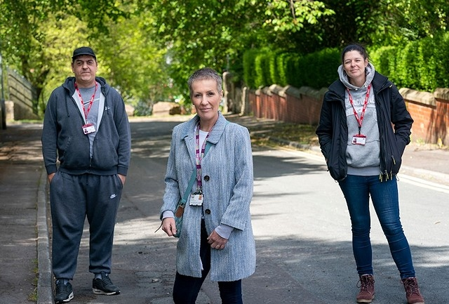 Outreach workers Ian Beasley and Alison Harrison with rough sleeper coordinator, Angela Hamer (centre)