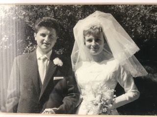 Geoff and Carol Whitehead on their wedding day in June 1960