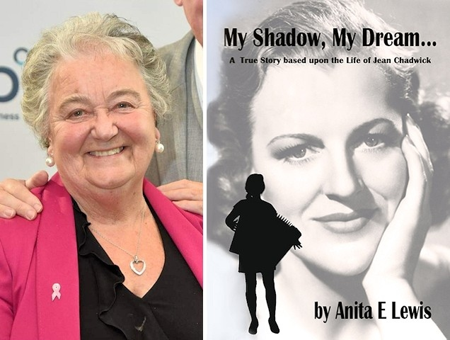Author Anita Lewis and the cover of My Shadow, My Dream