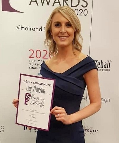 Lucy with her award at The English Hair and Beauty Awards earlier this year