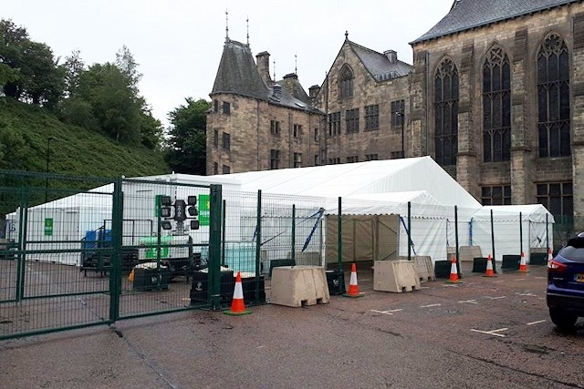 Walk-through coronavirus testing site at the rear of Rochdale Town Hall
