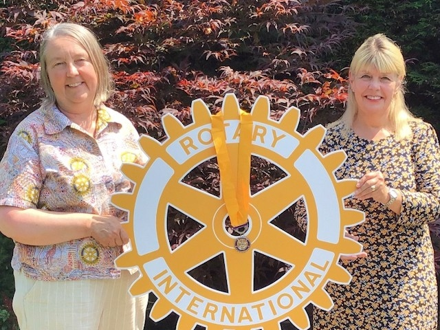 Rotary Middleton Vice President Helen Jungmayr with new President Bev Yarwood