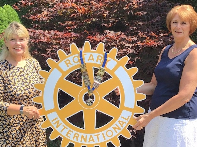 The new president of Rotary Middleton, Bev Yarwood with past president Janice Sawle