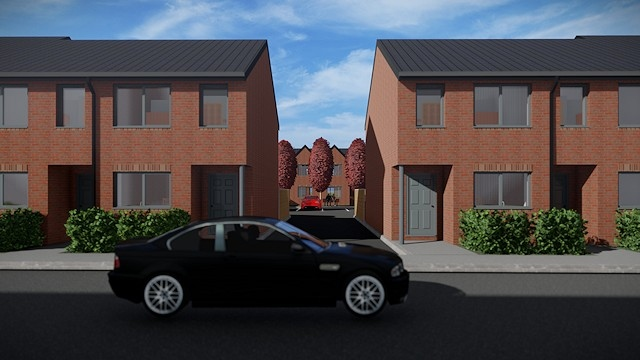 Artists impression of the new homes on Howarth Street, Littleborough