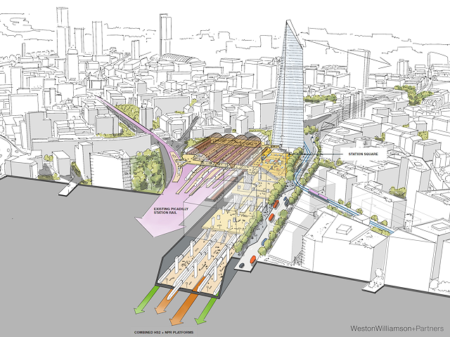 Sketch diagram showing cross section of alternative station next to Piccadilly
