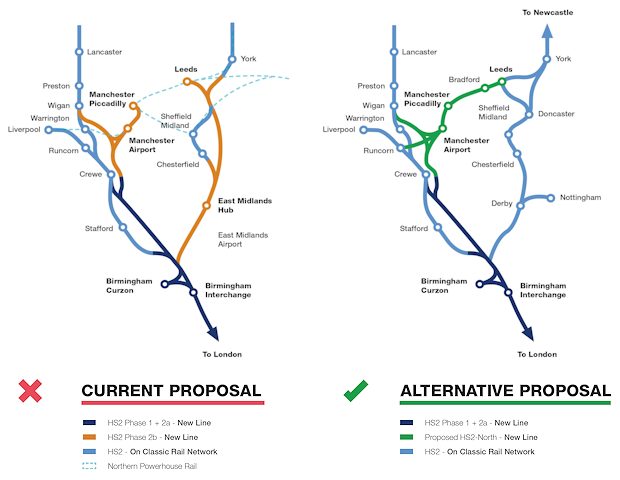 HS2 Rail map showing current and alternative proposal routes
