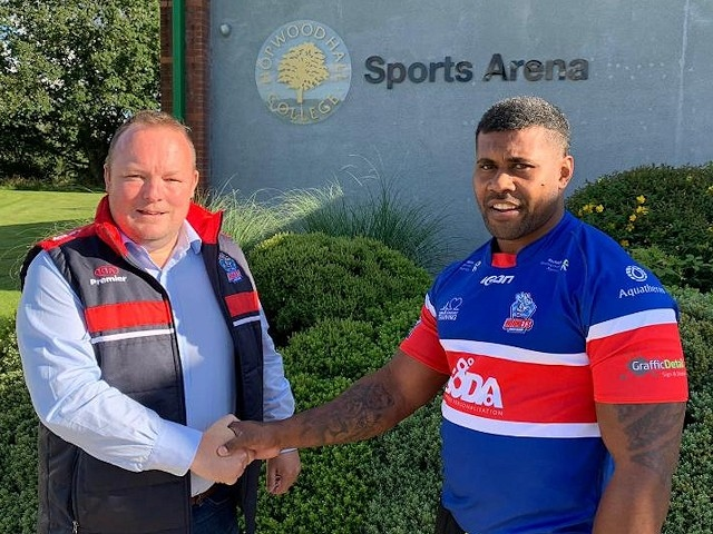 Hornets chairman Andy Mazey welcomes Joe Taira back to the club