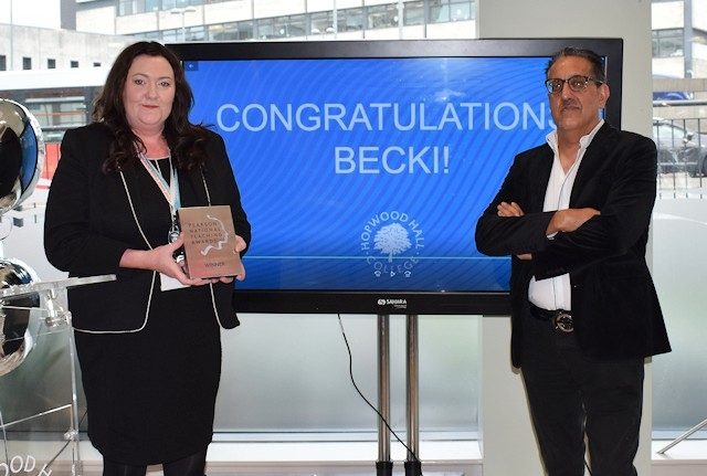 Silver winner Becki Lee with chair of governors Nazir Afzal OBE