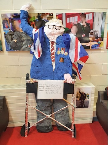 The statue of Captain Sir Tom Moore made by year 7 pupils at Redwood School
