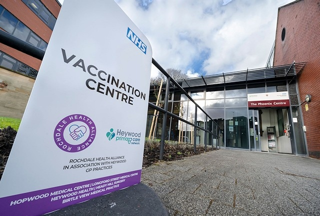 Vaccination centre at the Phoenix Centre in Heywood