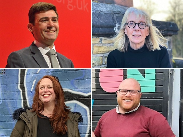 Clockwise from top left - Labour candidate and incumbent Andy Burnham, Conservative candidate Laura Evans, Liberal Democrat candidate Simon Lepori and Green Party candidate Melanie Horrocks
