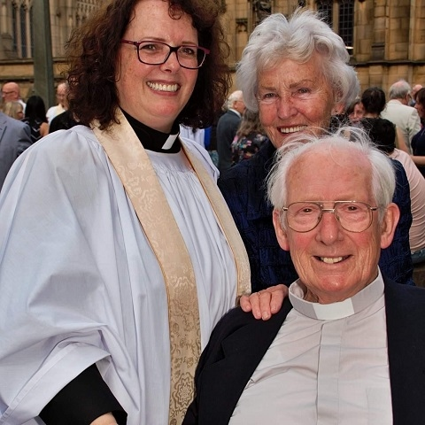 Revd Anne with her parents, Sheila and the late Revd Fred Gilbert, at her ordination as priest in 2019
