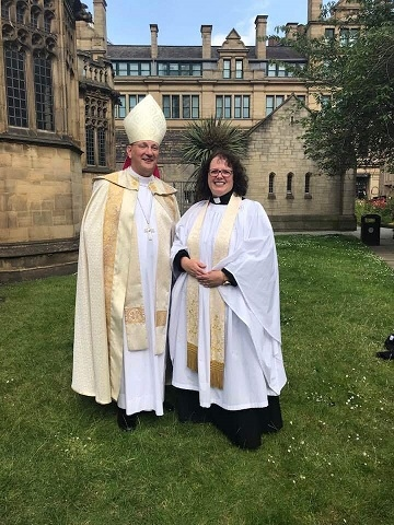 Revd Anne with the Bishop of Middleton, the Rt Revd Mark Davies, at her ordination as priest at Manchester Cathedral, 22 June 2019