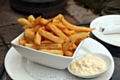 Serve the chips with garlic and chive mayonnaise