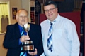 Norden Cricket Club presentation evening<br />Coupe Cup Winner Les Barlow with Dexter Fitton