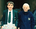 Year 10 pupil, James Scantlebury with Mrs Carole Hartley from Operation Christmas Child