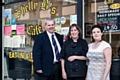 Council Leader, Councillor Richard Farnell, Shelly Buxton and Kirsty Buxton outside Shelly B's Cafe