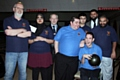 Dave Hobson from Rochdale Vipers, James Grimshaw and Jawad Khalid from Town Taxi, with the Rochdale Vipers ten pin bowling team