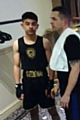 Muavia Nasim with coach David Hodkinson before his fight